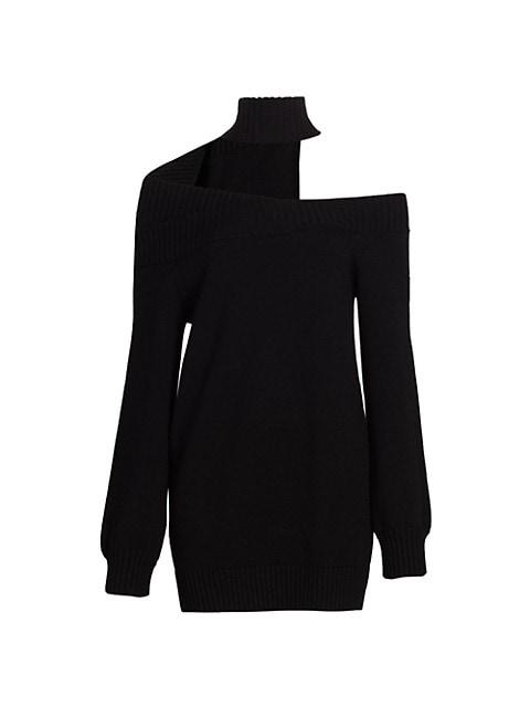 Off-The-Shoulder Turtleneck Wool Dress