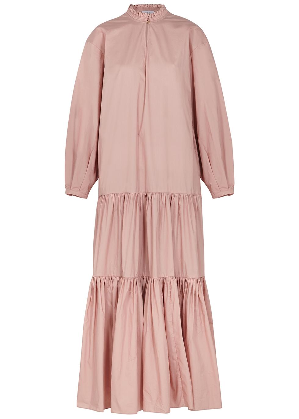 Carlotta light pink tiered cotton maxi dress