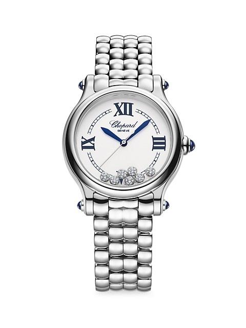 Happy Sport The First Stainless Steel & Diamond Pebble-Link Bracelet Watch