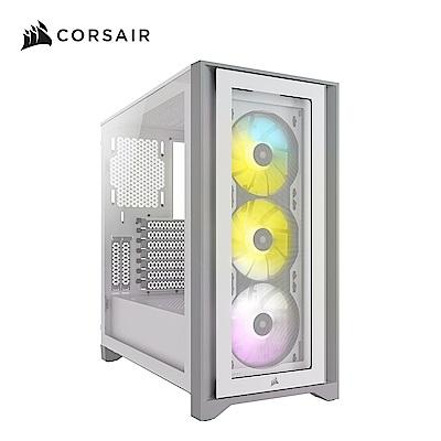 Corsair 海盜船 iCUE 4000X RGB鋼化玻璃中塔式ATX電腦機殼—白色