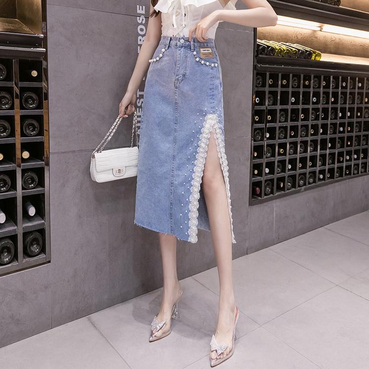 VIVILIAN日系氣質減齡側開叉重工蕾絲釘珠高腰顯瘦牛仔裙