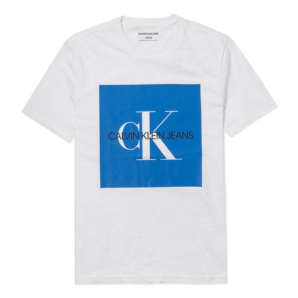 Calvin Klein 經典印刷CK文字圖案短袖T恤-白色