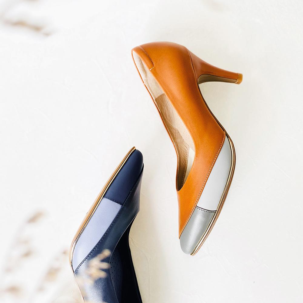 玩色女子 時髦拼色尖頭高跟鞋