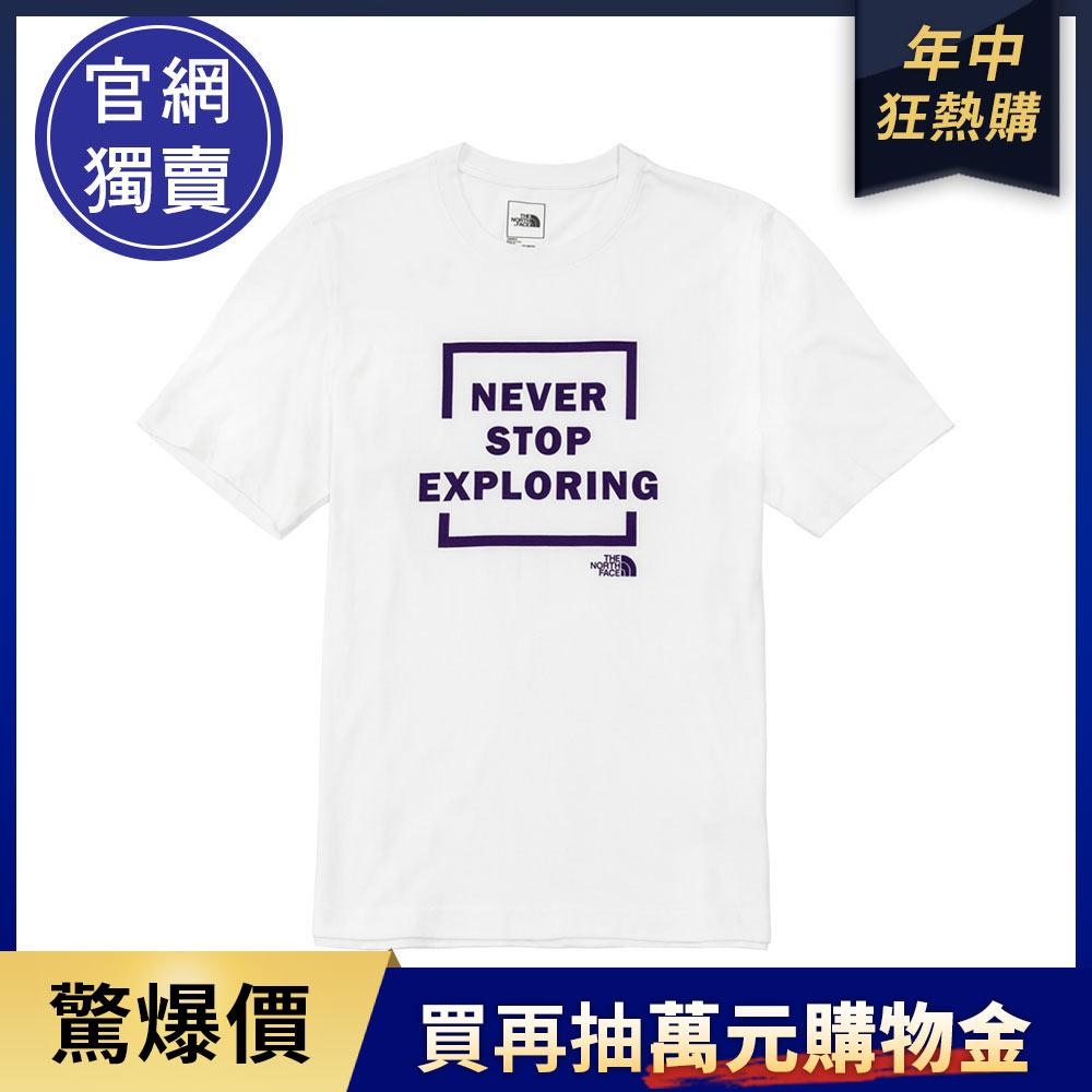 【6/20 中午開賣】The North Face北面男女款白色胸前標語印花短袖T恤|5JTSFN4