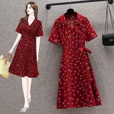 L-4XL胖妹妹大碼涼感洋裝長裙~大碼女裝復古連身裙胖mm紅色浪漫茶歇裙子長款3F015A衣時尚