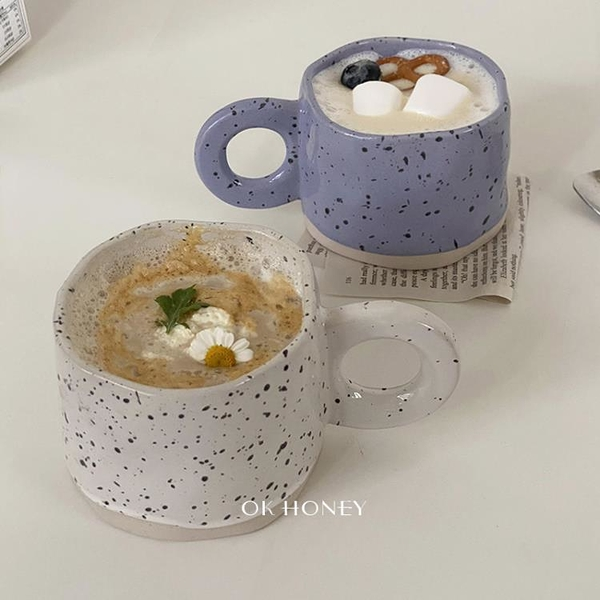 馬克杯 ins手捏不規則創意潑墨陶瓷馬克杯早餐牛奶咖啡杯韓國風韓式小眾 歐歐