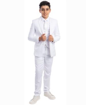 Perry Ellis Big Boy's 5-Piece Shirt, Tie, Jacket, Vest and Pants Solid Suit Set
