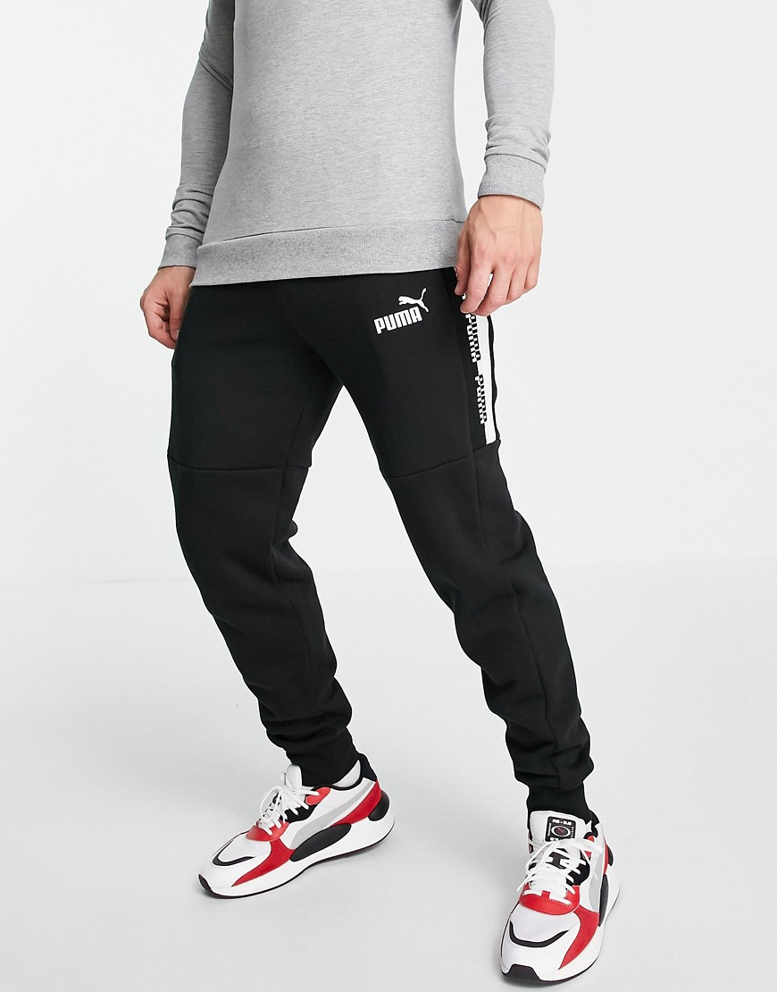 Puma Amplified logo sweatpants in black