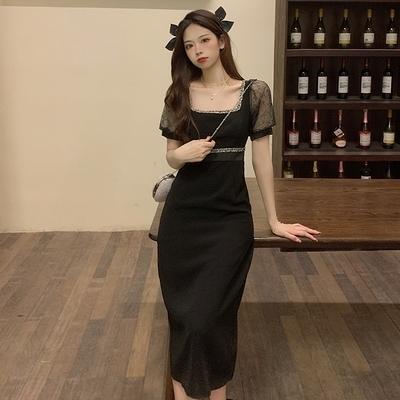 大碼方領洋裝~連身裙~女裝黑色連衣裙蕾絲拼接泡泡袖方領中長裙GB407-A 胖妞衣櫥