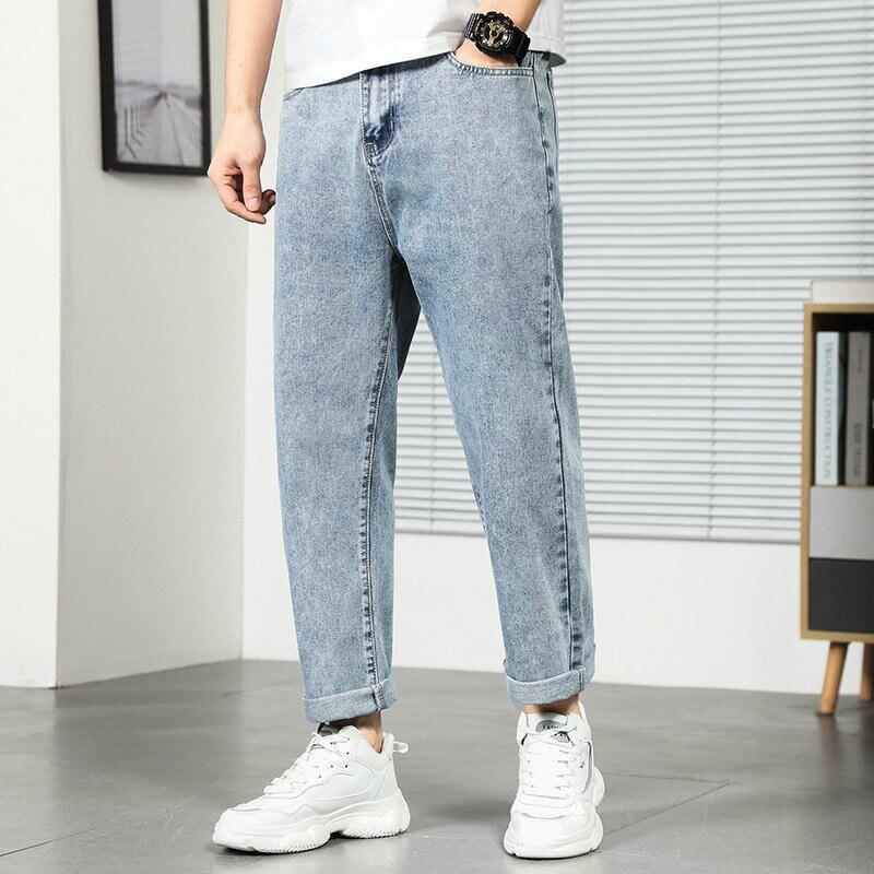 2021夏季新款牛仔褲男士水洗寬鬆垂感直筒百搭老爹褲子