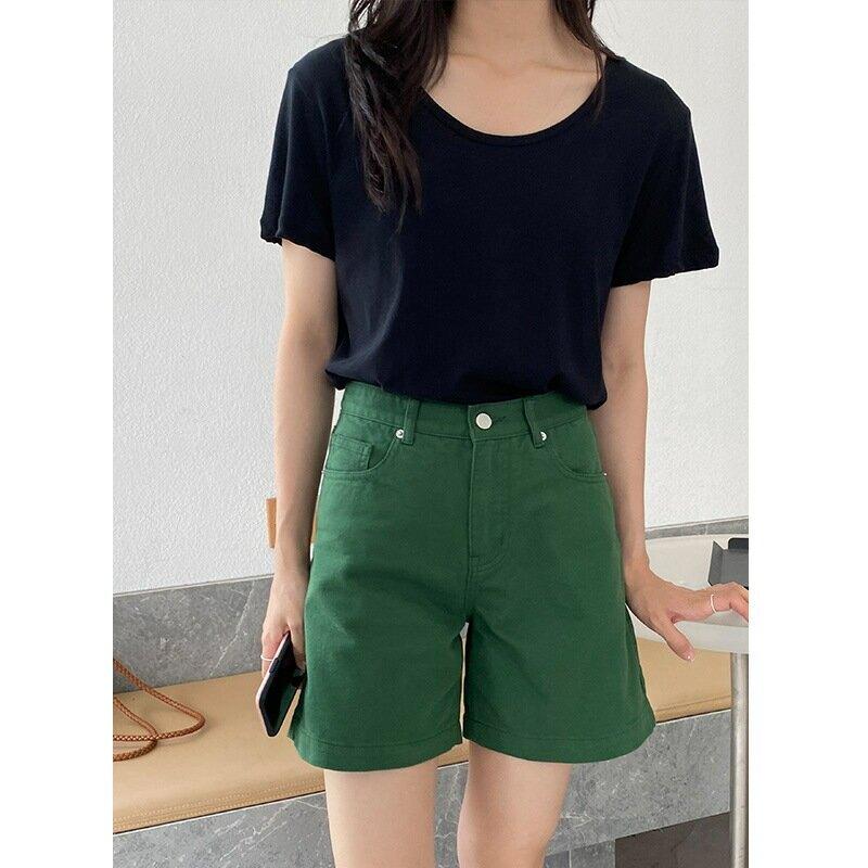 夏季新款t恤女U領棉質基礎款內搭單穿短袖寬鬆慵懶上衣