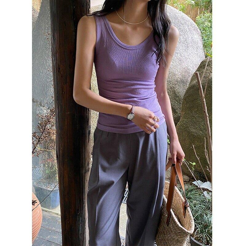 夏季新款背心韓版U領純色針織小吊帶女單穿內搭修身上衣