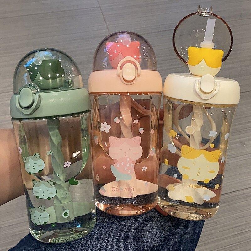 夏季卡通可愛吸管杯飲料果汁攪拌杯手提便攜學生兒童喝水杯子男女
