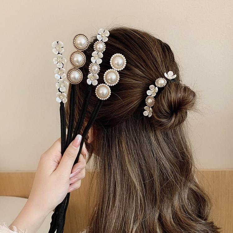 VIVILIAN韓單高質感多功能盤髮神器珍珠立體髮圈髮線