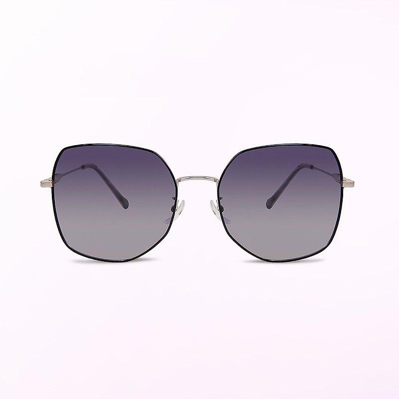 芙蘿拉的小徑舞曲│夜香繽幾何銀葉設計偏光墨鏡│UV400太陽眼鏡