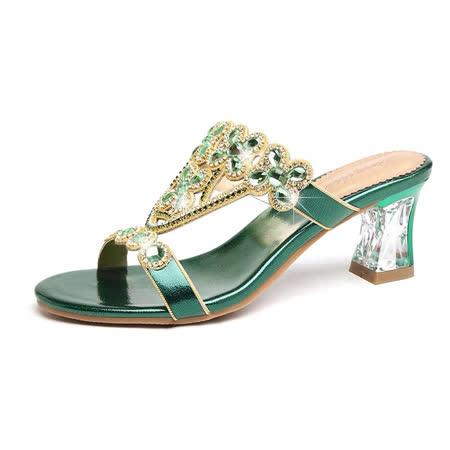Genny Iervolino真皮鑲水鉆晚粗跟宴鞋拖鞋(綠色)