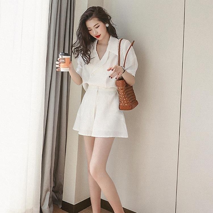 西裝兩件套 夏季洋氣矮個子小香風氣質赫本輕熟風御姐職業兩件套裝女-麥田印象