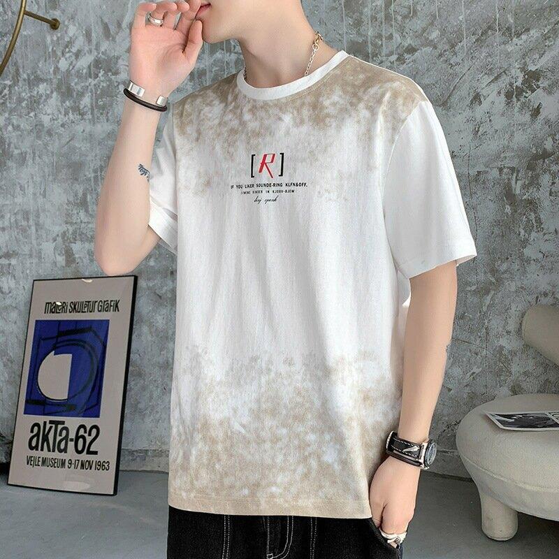 潮牌男士短袖t恤暈染夏季寬鬆休閒潮流圓領打底衫2021新款體恤白