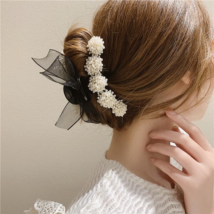 VIVILIAN優雅氣質珍珠蝴蝶結百搭一字髮飾抓夾