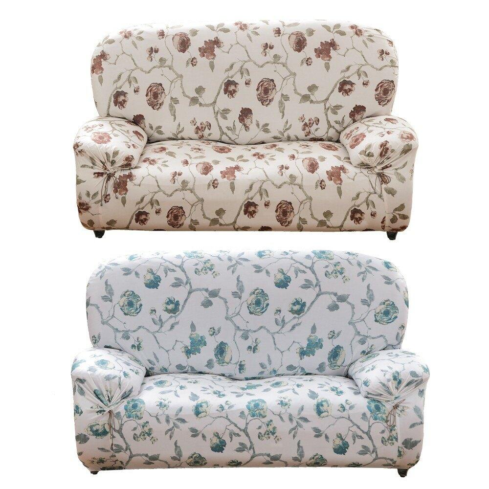 【格藍傢飾】典藏花藝舒適棉柔彈力沙發套1/2/3人座(2色可選) 萬用 沙發罩 彈性 防滑 全包