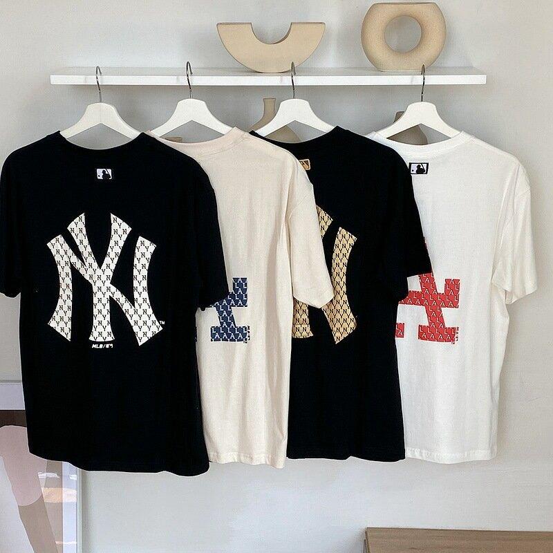 潮牌韓國NY短袖白T恤女背後大標滿標老花寬鬆夏季新款男半袖情侶