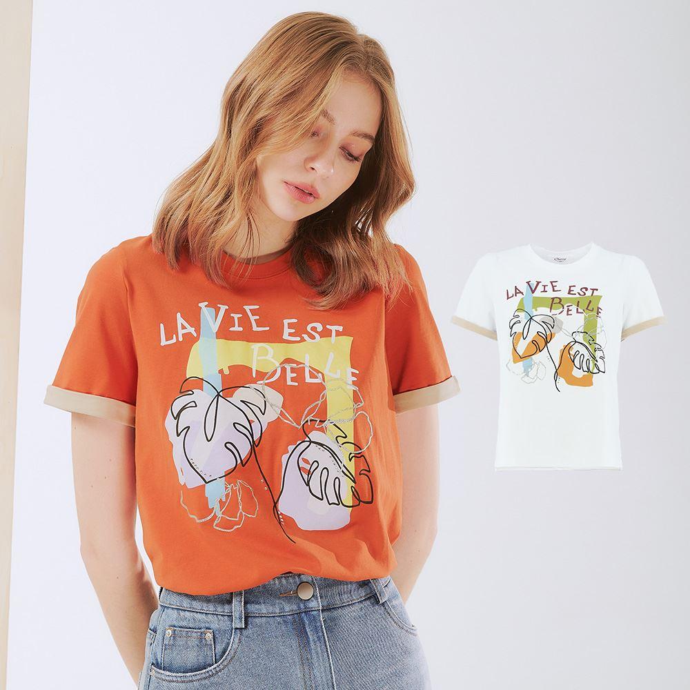 OUWEY歐薇 高含棉撞色反摺袖抽象膠印上衣(白/桔)3212081220