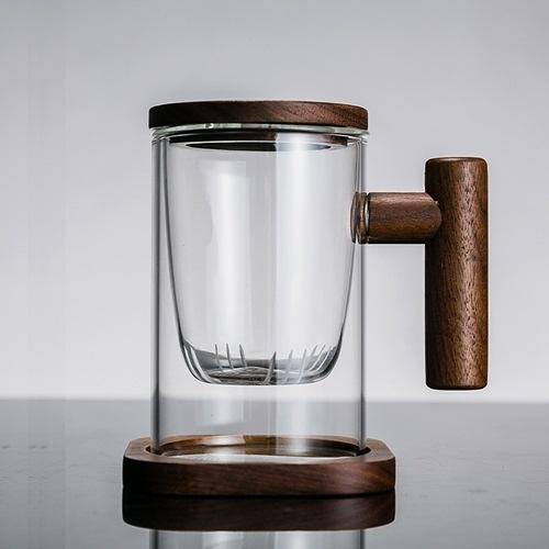 玻璃杯-茶水分離木把帶蓋水杯74aj22【時尚巴黎】