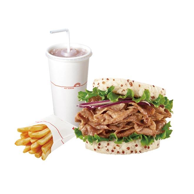 摩斯漢堡 藜麥薑燒珍珠堡+薯條(S)+冰紅茶(L)