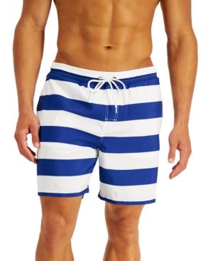 Club Room Men's Cabana Stripe Swim Trunks, Created for Macy's