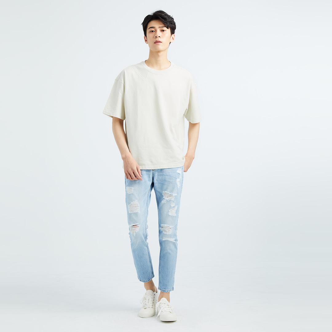 簡單不簡單剪裁舒適純棉T(米白色)-男