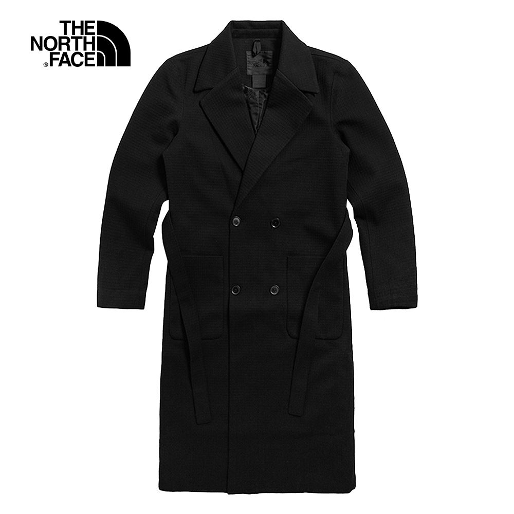 The North Face北面UE女款黑色腰部綁帶簡約長版外套|4QXZJK3
