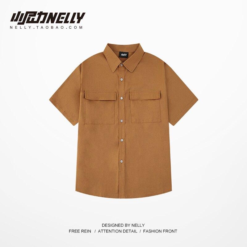 短袖襯衫外套男女工裝2021年夏裝復古港味風法式日系防曬jk襯衣bf