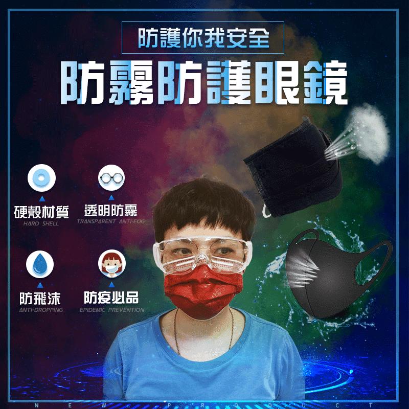 【金德恩】 透明防霧防護眼鏡+防潑水精梳棉口罩套+造型潮流防塵口罩/組