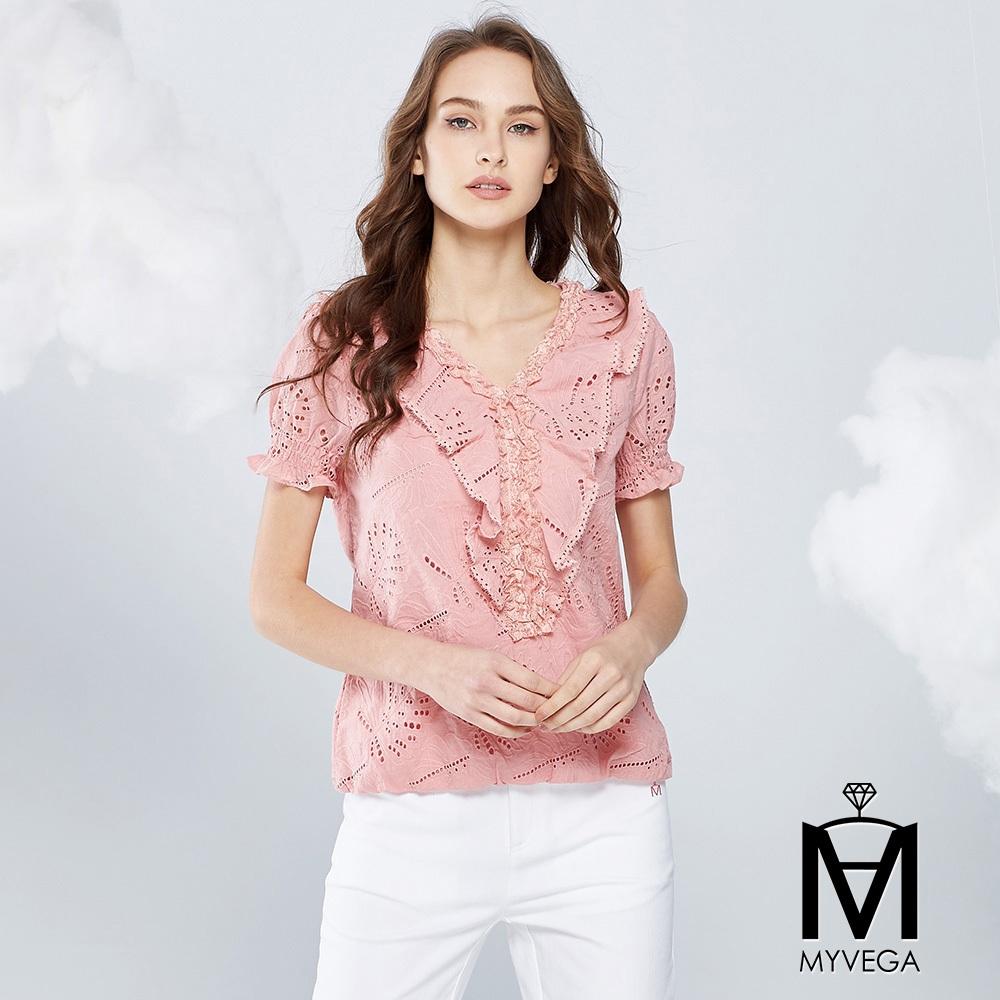 【麥雪爾】MA韓風甜美荷葉V領上衣-粉