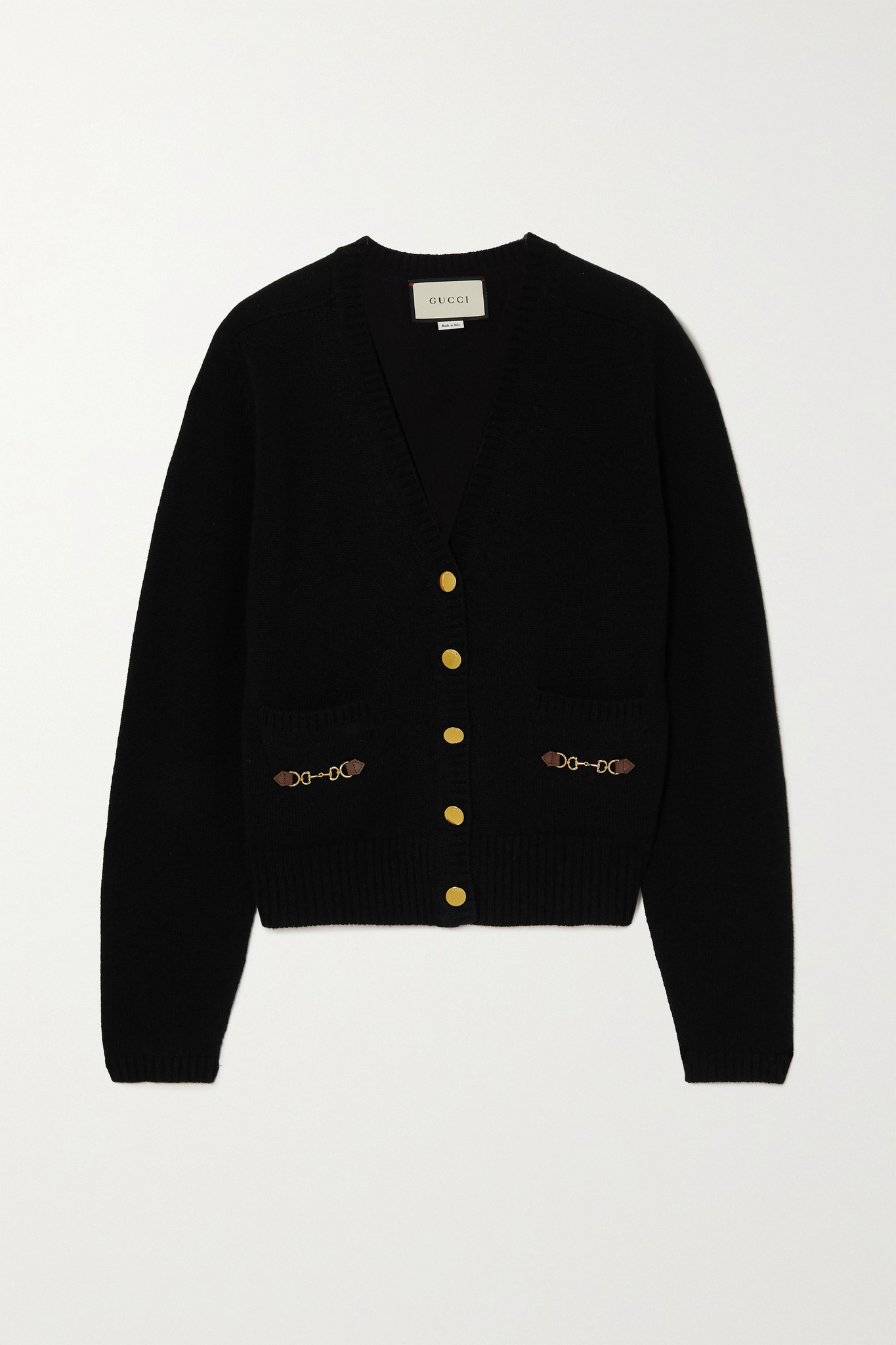 GUCCI - Horsebit-detailed Leather-trimmed Cashmere Cardigan - Black - xx small