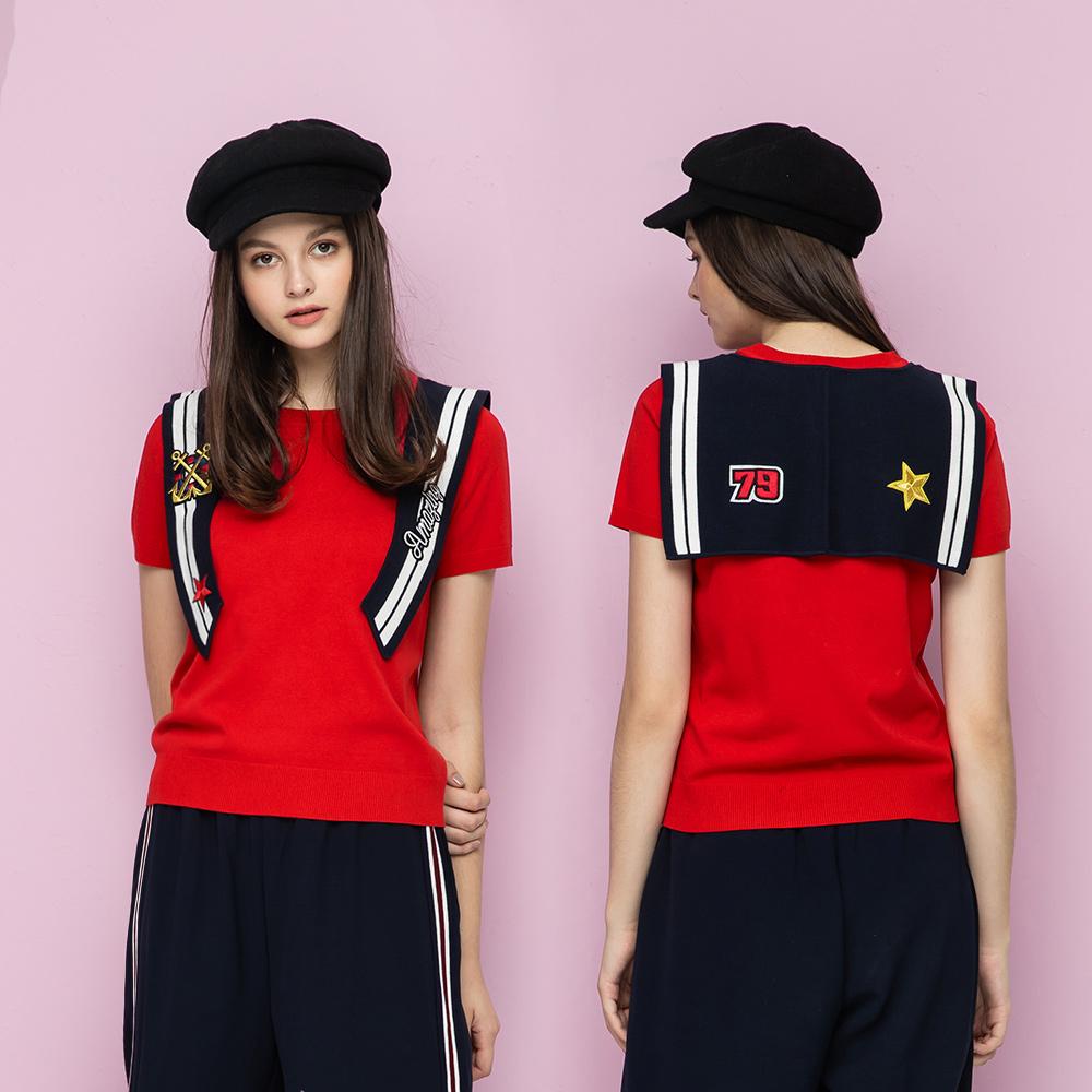 OUWEY歐薇 海洋風披肩針織上衣(紅)I19506