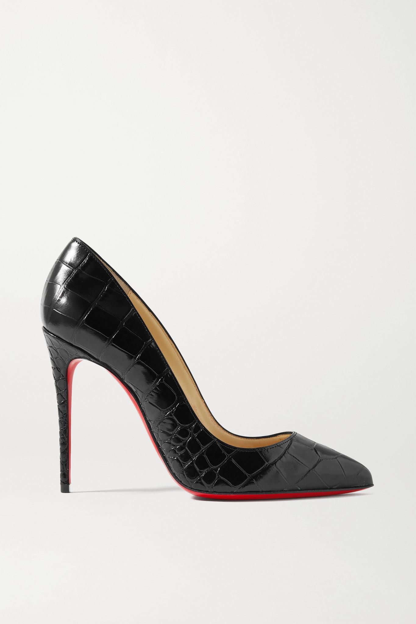 CHRISTIAN LOUBOUTIN - Pigalle Follies 100 Croc-effect Leather Pumps - Black - IT37