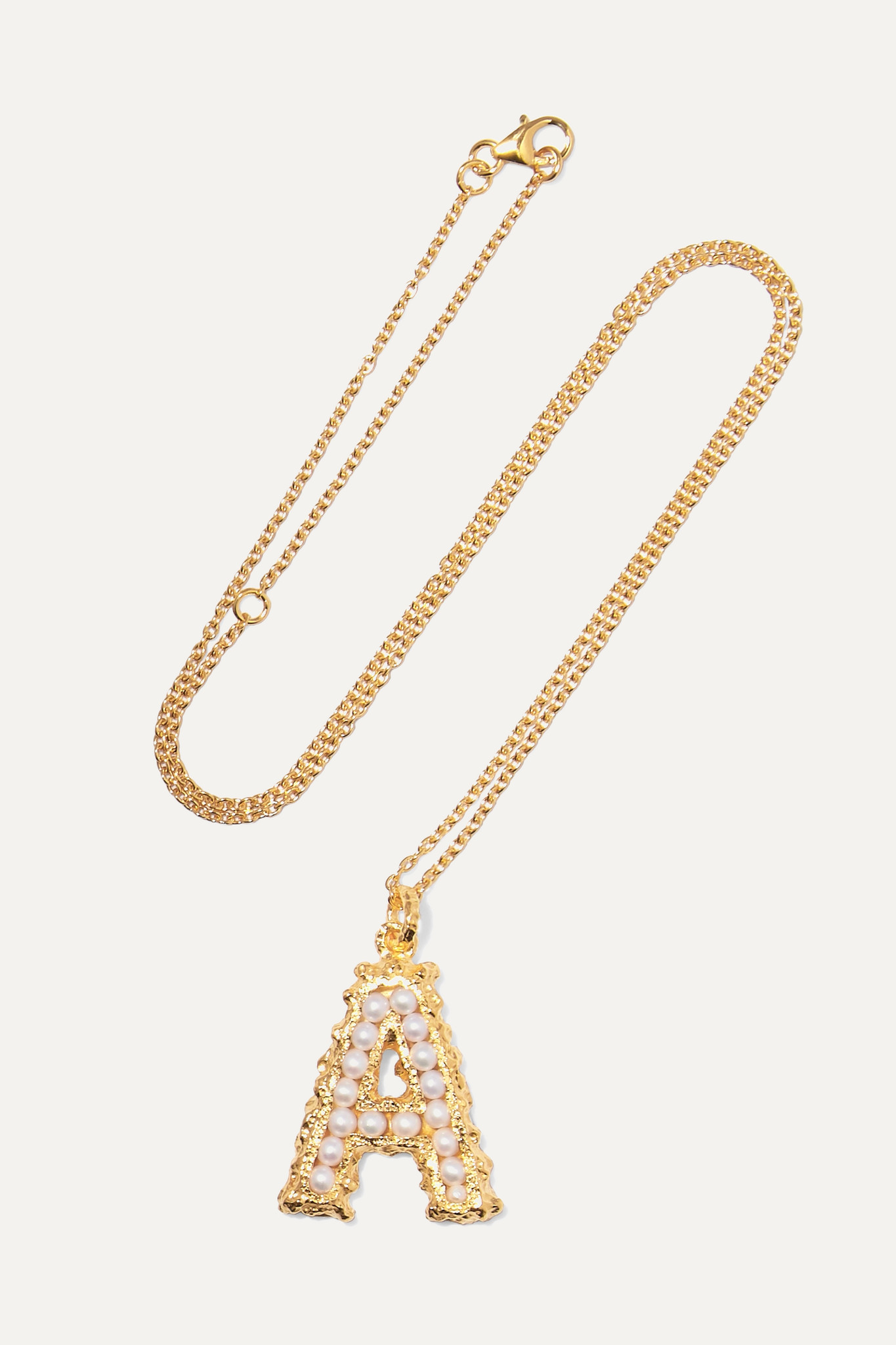 PACHAREE - Alphabet Gold-plated Pearl Necklace - R