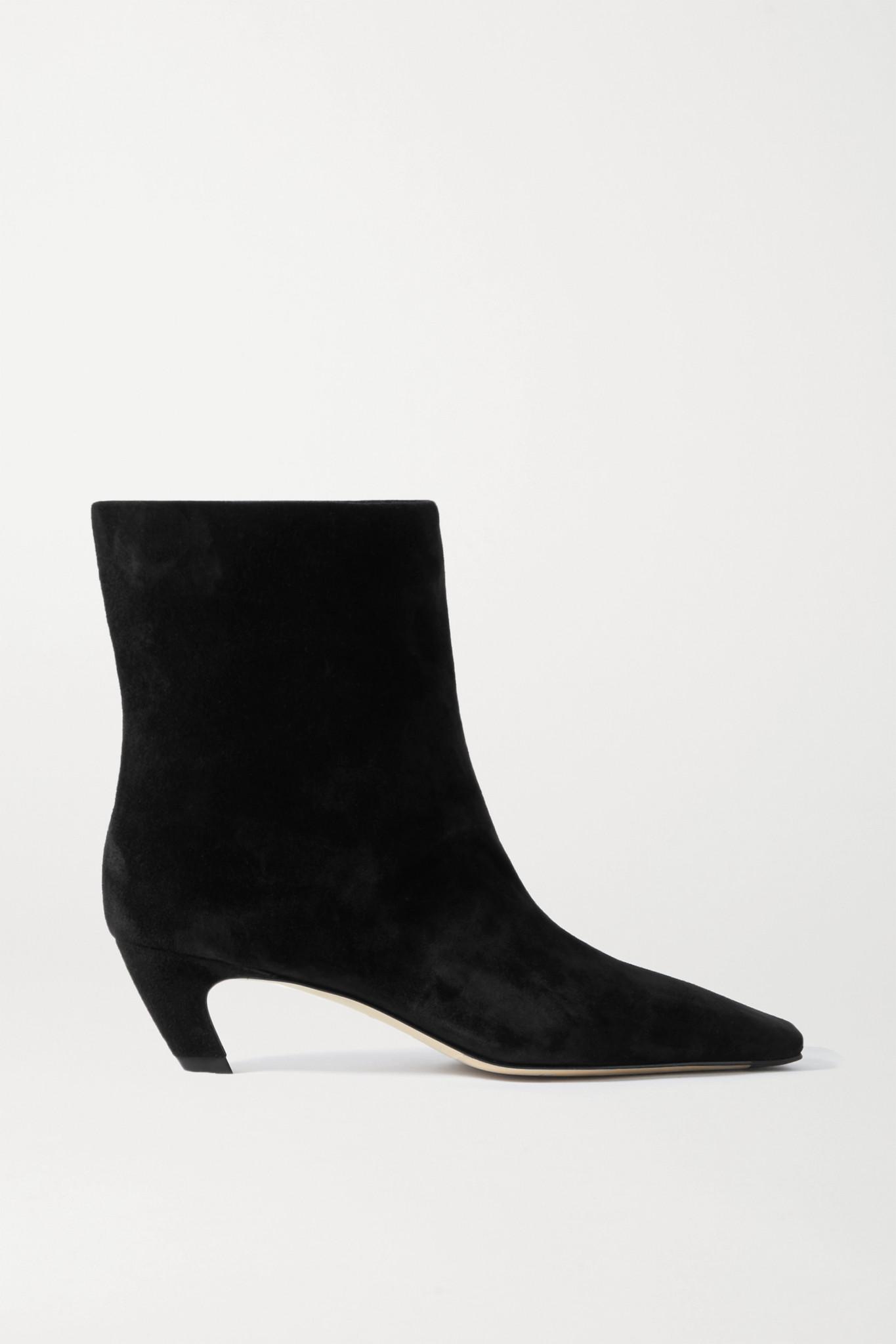 KHAITE - Arizona Suede Ankle Boots - Black - IT40