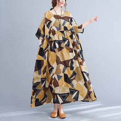 連身裙 大碼洋裝文藝大碼胖MM寬松顯瘦洋氣印花短袖中長連身裙MC062 胖妞身櫥