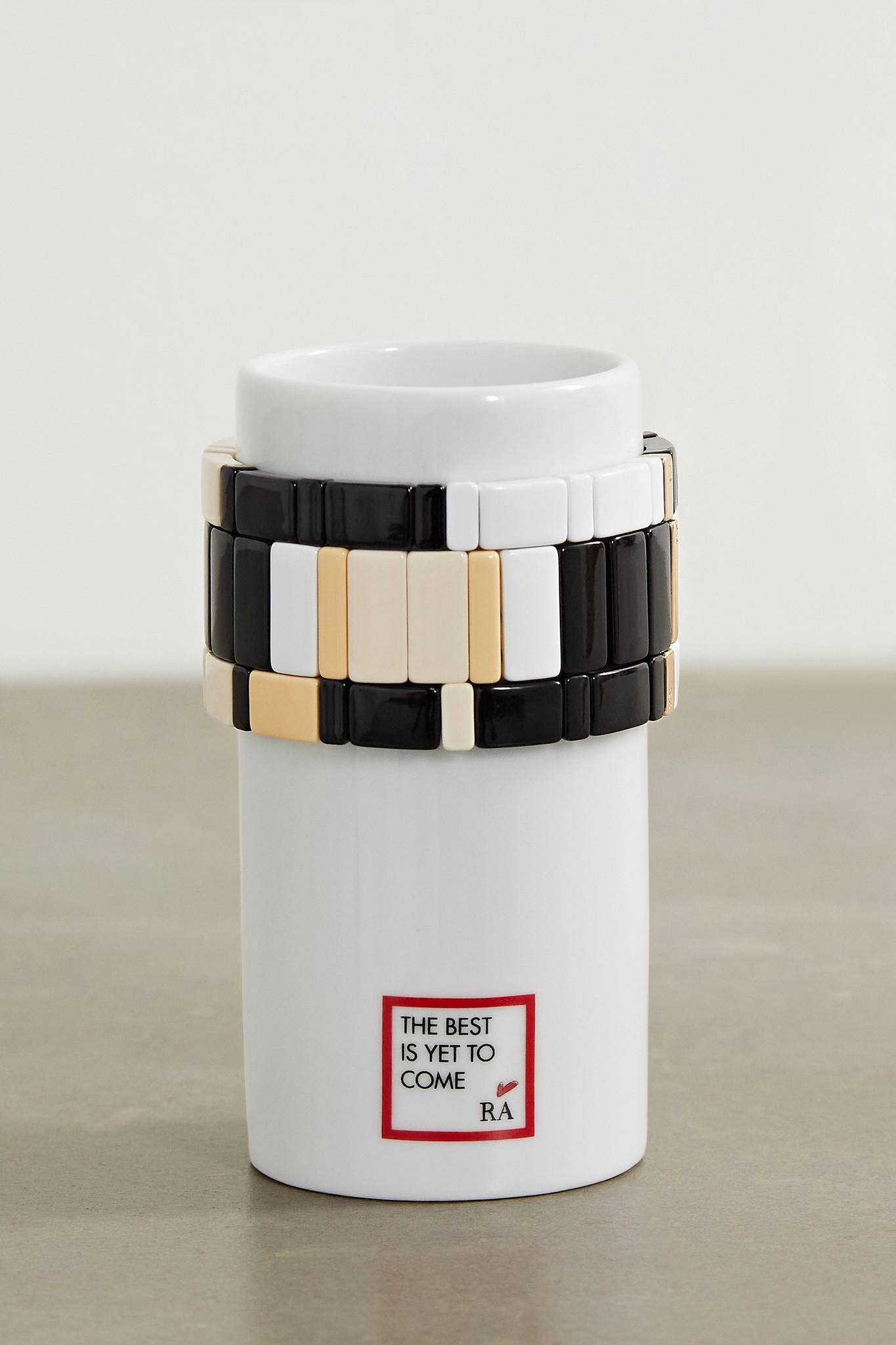ROXANNE ASSOULIN - Stack 'em Up Porcelain Vase And Set Of Three Enamel And Gold-tone Bracelets - Bla