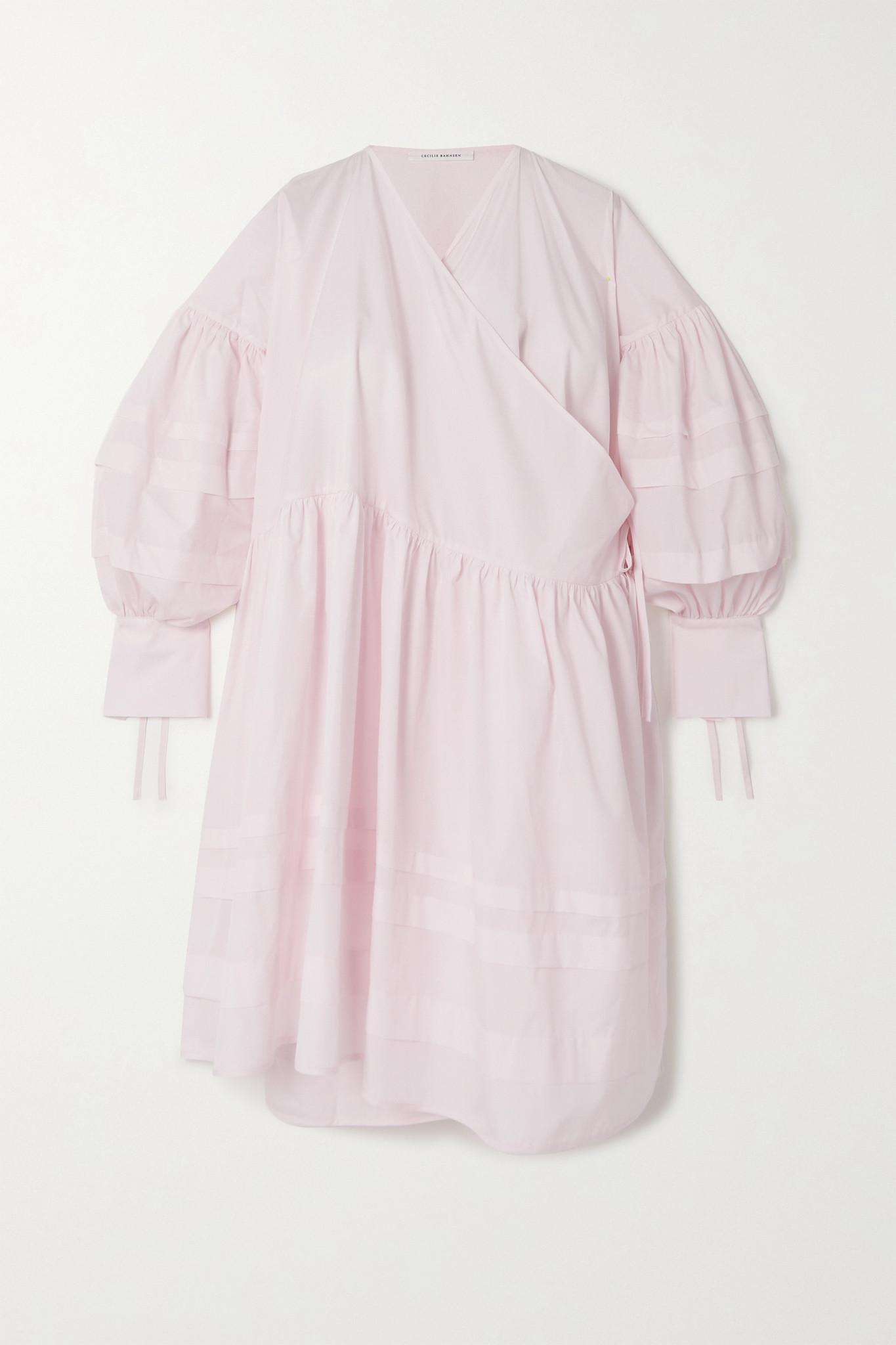 CECILIE BAHNSEN - Amalie Oversized Organic Cotton Wrap Dress - Pink - M/L