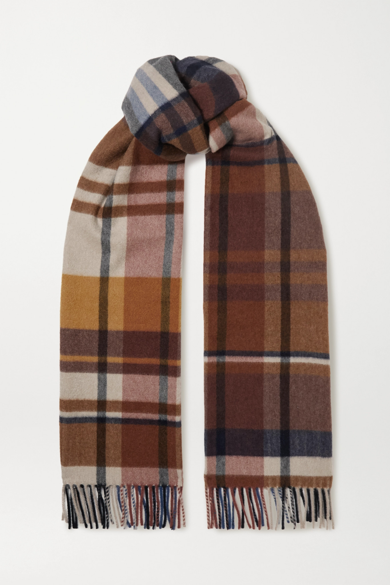 LORO PIANA - Fringed Checked Cashmere Scarf - Brown - one size