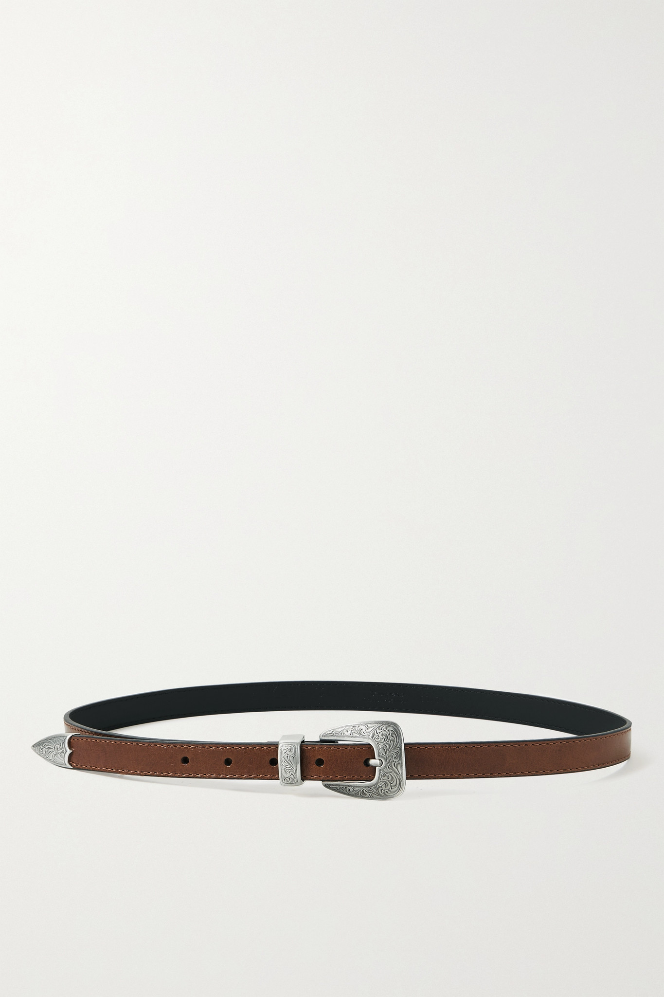 KATE CATE - + Net Sustain Thin Kim Leather Belt - Brown - 70