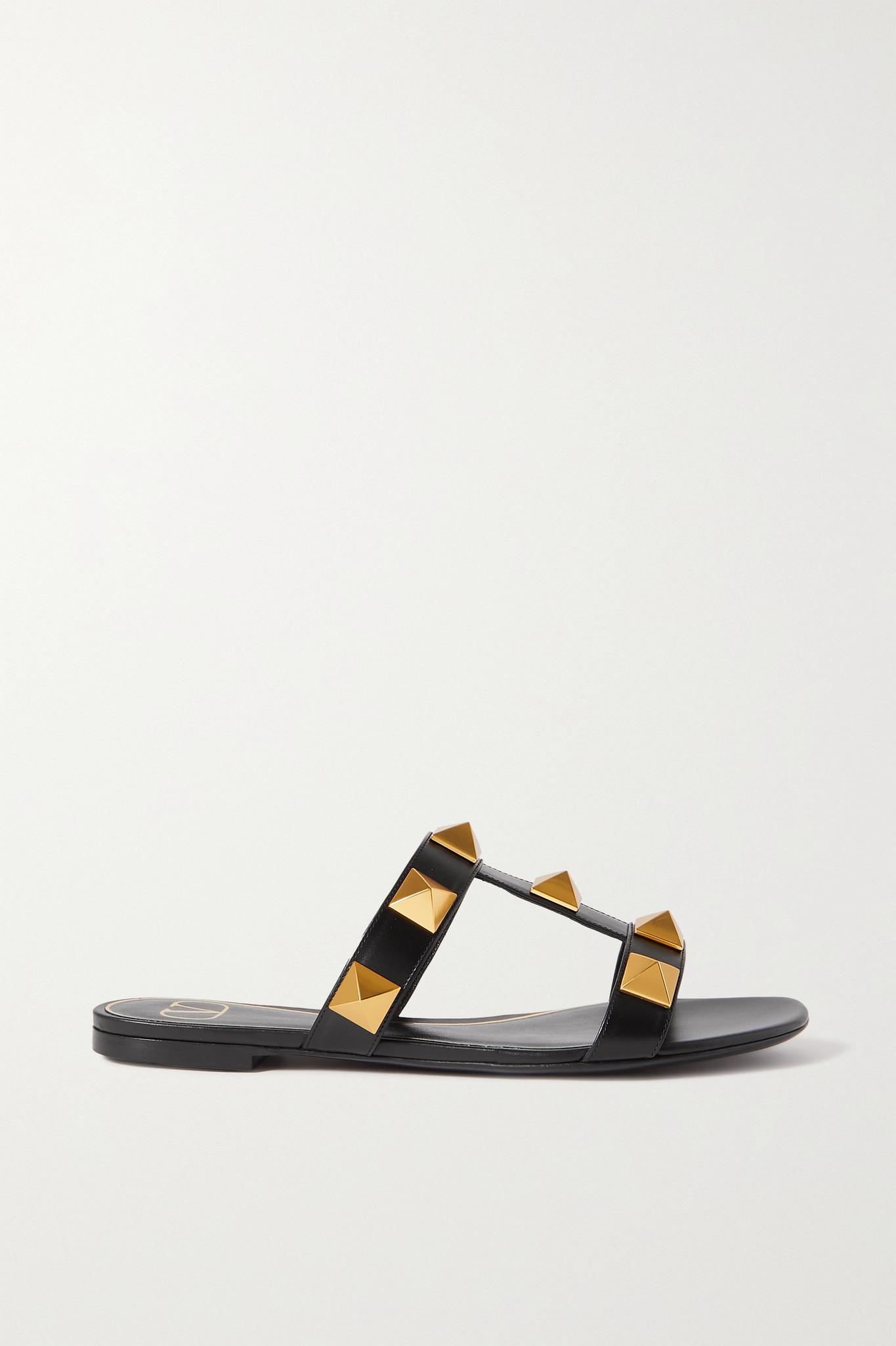 VALENTINO - Valentino Garavani Roman Stud Leather Sandals - Black - IT39