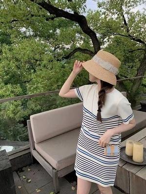 連身裙 針織條紋拼接連身裙女2021夏季新款T恤裙薄1F081-B1胖妹大碼女裝