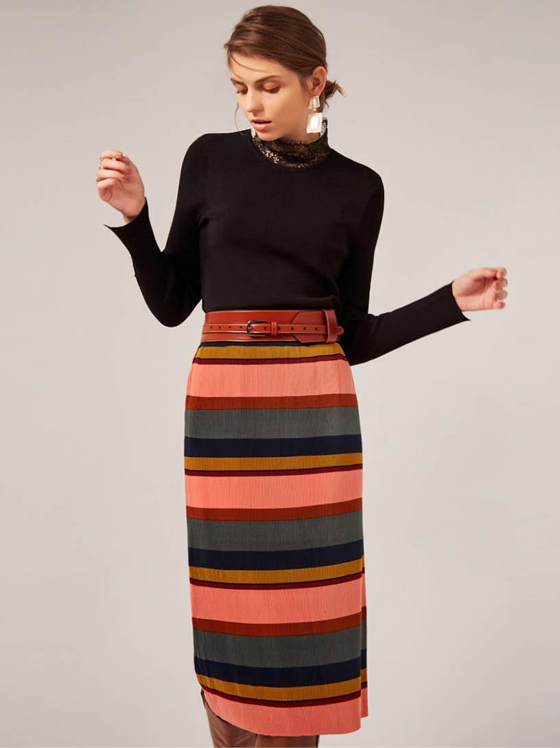 MOMA(02S067)拼色條紋壓褶中裙