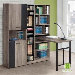 【Hampton 漢汀堡】艾朵拉古橡色5尺開放式L 型書櫥書桌組