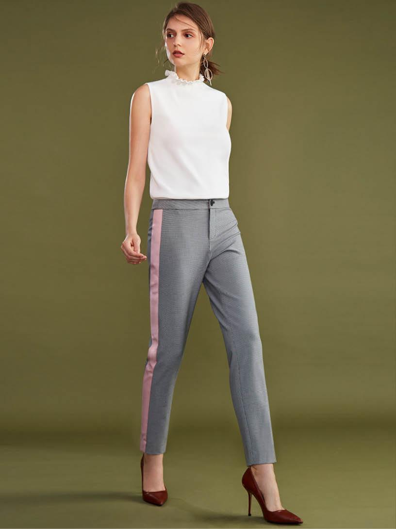 MOMA(02P085)細千鳥格配色長褲