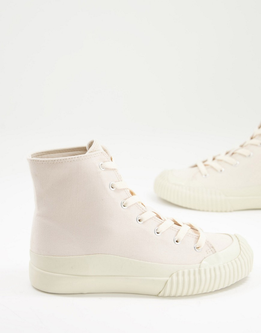 Monki Lance cotton canvas trainers in off white